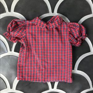 Vintage toddler blouse 12-24 m plaid puff sleeve